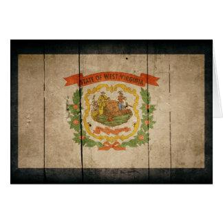 ウェストヴァージニアの険しい木製の旗 カード