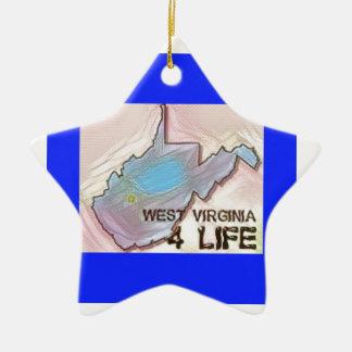 """""""ウェストヴァージニア4生命""""の州の地図のプライドのデザイン セラミックオーナメント"""