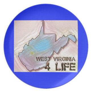 """""""ウェストヴァージニア4生命""""の州の地図のプライドのデザイン プレート"""