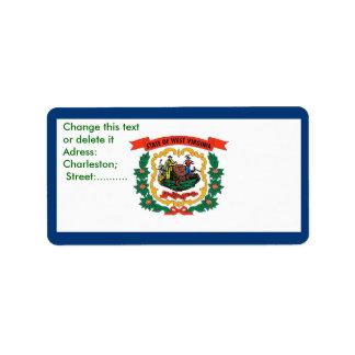ウェストヴァージニア、米国の旗が付いているカスタムなラベル ラベル