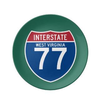ウェストヴァージニアWV I-77の州間幹線道路の盾- 磁器プレート