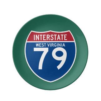 ウェストヴァージニアWV I-79の州間幹線道路の盾- 磁器プレート