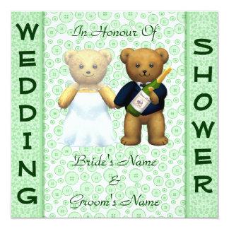 ウェディングシャワーの青リンゴ色のテディー・ベアの招待 カード