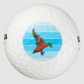 ウェリントンのブーツを身に着けているアヒル ゴルフボール