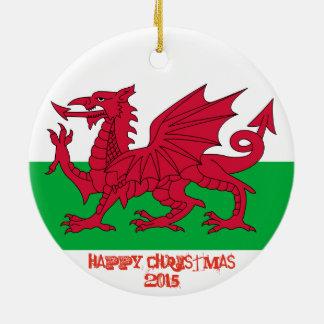 ウェールズのウェールズのドラゴンの旗のクリスマスのオーナメント セラミックオーナメント