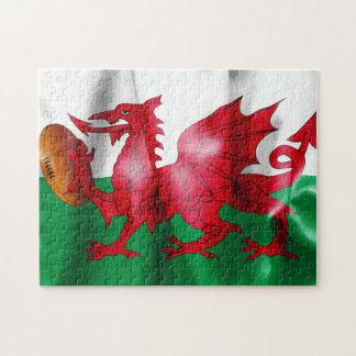 ウェールズのドラゴンのラグビーのボールの旗 ジグソーパズル