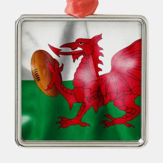 ウェールズのドラゴンのラグビーのボールの旗 メタルオーナメント
