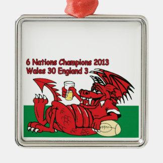 ウェールズのドラゴン、6人の国家のチャンピオン、ウェールズvイギリス メタルオーナメント