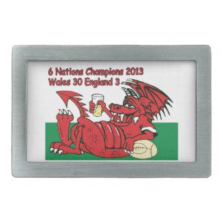 ウェールズのドラゴン、6人の国家のチャンピオン、ウェールズvイギリス 長方形ベルトバックル