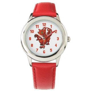 ウェールズの手がつけられなく小さいベビーの赤いドラゴンの漫画 腕時計