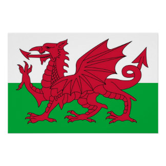 ウェールズの旗が付いている愛国心が強いポスター ポスター