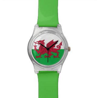 ウェールズの旗が付いている愛国心が強い子供の腕時計 腕時計
