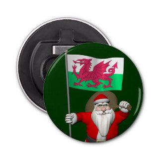 ウェールズの旗を持つサンタクロース 栓抜き