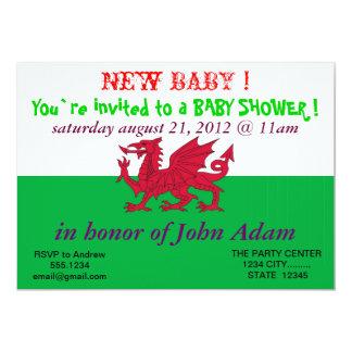 ウェールズの旗を持つベビーシャワーの招待状 カード