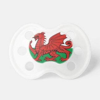 """ウェールズの旗、""""Cymru AM byth""""の、   赤いドラゴン おしゃぶり"""