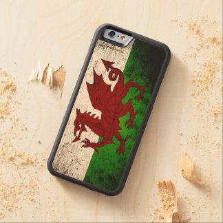 ウェールズの黒くグランジな旗 CarvedメープルiPhone 6バンパーケース