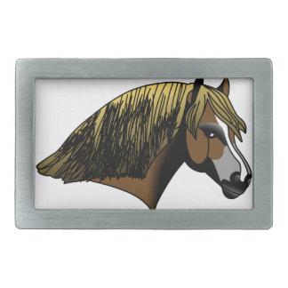 ウェールズ子馬の頭部 長方形ベルトバックル