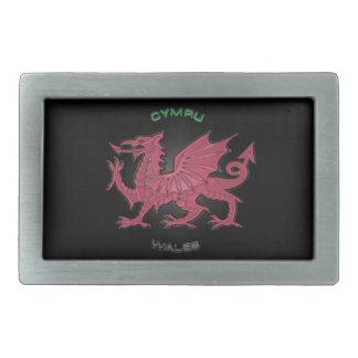 ウェールズ(Cymru)の赤いドラゴン、黒、パステル調灰色 長方形ベルトバックル