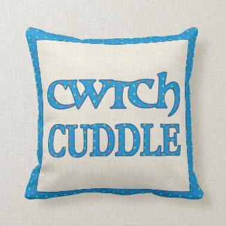 ウェールズCwtchの装飾用クッション、クッション、青のポルカ クッション