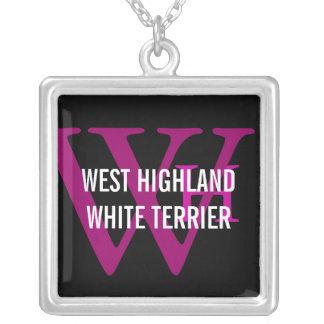 ウエスト・ハイランド・ホワイト・テリアかWestieのモノグラム シルバープレートネックレス