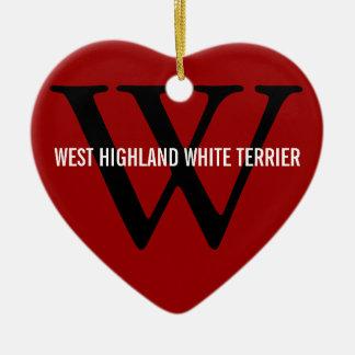 ウエスト・ハイランド・ホワイト・テリアかWestieのモノグラム セラミックオーナメント