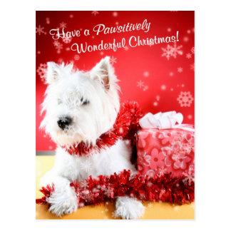 ウエスト・ハイランド・ホワイト・テリアのクリスマスの願い ポストカード