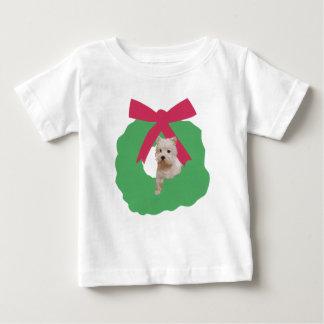 ウエスト・ハイランド・ホワイト・テリアの休日のリース ベビーTシャツ