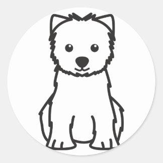 ウエスト・ハイランド・ホワイト・テリア犬の漫画 ラウンドシール