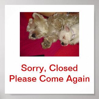 ウエスト・ハイランド・ホワイト・テリア犬の閉鎖した印 ポスター