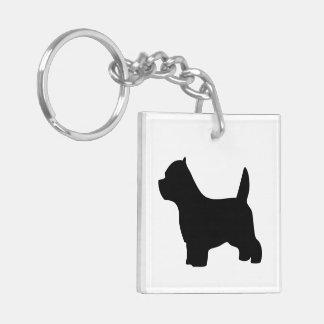 ウエスト・ハイランド・ホワイト・テリア犬の黒のシルエット キーホルダー