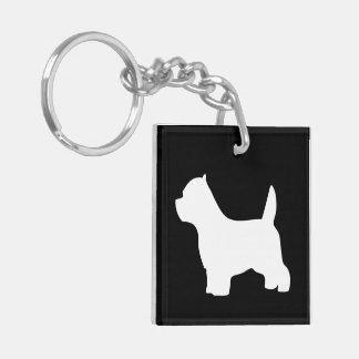 ウエスト・ハイランド・ホワイト・テリア犬のwestieのシルエット キーホルダー