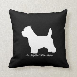 ウエスト・ハイランド・ホワイト・テリア犬、westieのシルエット クッション