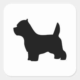 ウエスト・ハイランド・ホワイト・テリア犬、westieのシルエット スクエアシール