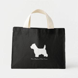 ウエスト・ハイランド・ホワイト・テリア犬、westieのシルエット ミニトートバッグ