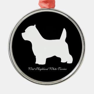 ウエスト・ハイランド・ホワイト・テリア犬、westieのシルエット メタルオーナメント