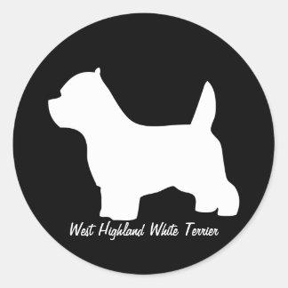 ウエスト・ハイランド・ホワイト・テリア犬、westieのシルエット ラウンドシール