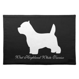 ウエスト・ハイランド・ホワイト・テリア犬、westieのシルエット ランチョンマット