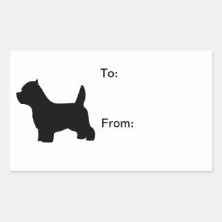 ウエスト・ハイランド・ホワイト・テリア犬、westieのシルエット 長方形シール