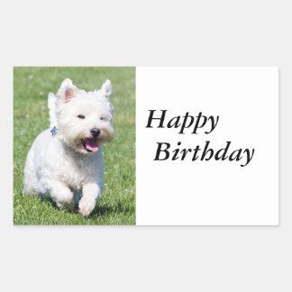 ウエスト・ハイランド・ホワイト・テリア、westie犬のかわいい写真 長方形シール
