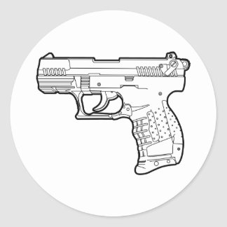 ウォルターp22銃の火器のステンシルグラフィックのTシャツ ラウンドシール