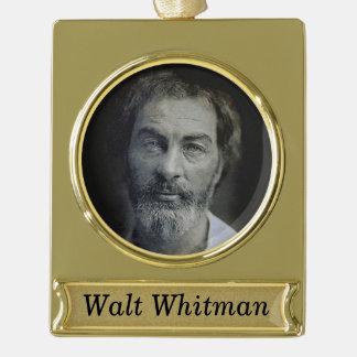 ウォルト・ホイットマンの名前入りなポートレート ゴールドプレートバナーオーナメント