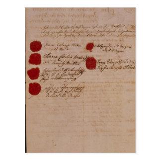 ウォルフガング、モーツァルトおよびWeberの結婚証明書 ポストカード