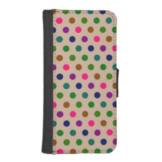 ウォレットケースのiPhone 5sの水玉模様 iPhoneSE/5/5sウォレットケース