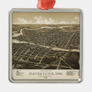 ウォータータウン、ウィスコンシン(1885年)の空中写真 メタルオーナメント