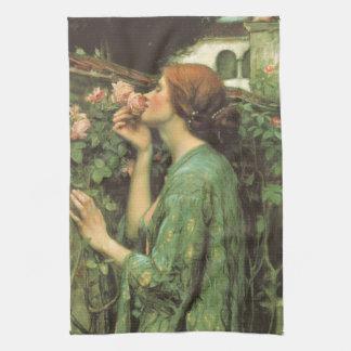 ウォーターハウスによるバラの私の甘いバラ、か精神 キッチンタオル