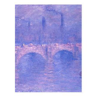 ウォータールー橋、クロード・モネ著かすんでいる日光 ポストカード