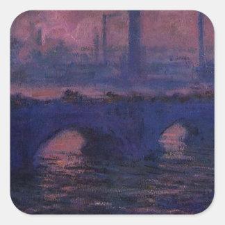 ウォータールー橋、クロード・モネ著曇た天候 スクエアシール