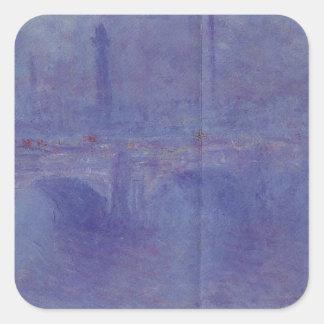 ウォータールー橋、クロード・モネ著霧の効果 スクエアシール