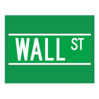 ウォールストリート、ニューヨークの道路標識 ポストカード