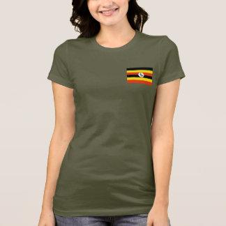 ウガンダの旗および地図dkのTシャツ Tシャツ